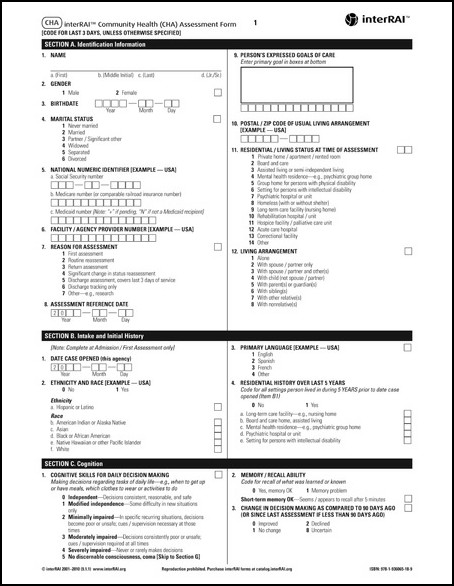 Interrai Community Health Cha Assessment Form   Interrai Catalog