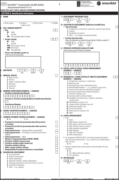 CHA Canadian] interRAI Community Health (CHA) Assessment Form, 9.1 ...