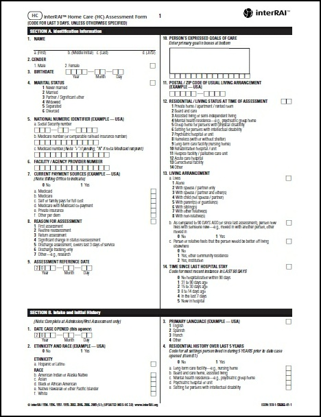 Hc  Interrai Home Care Hc Assessment Form   License To