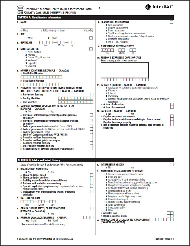MH ] interRAI Mental Health (MH) Assessment Form, 9.1 - License to ...