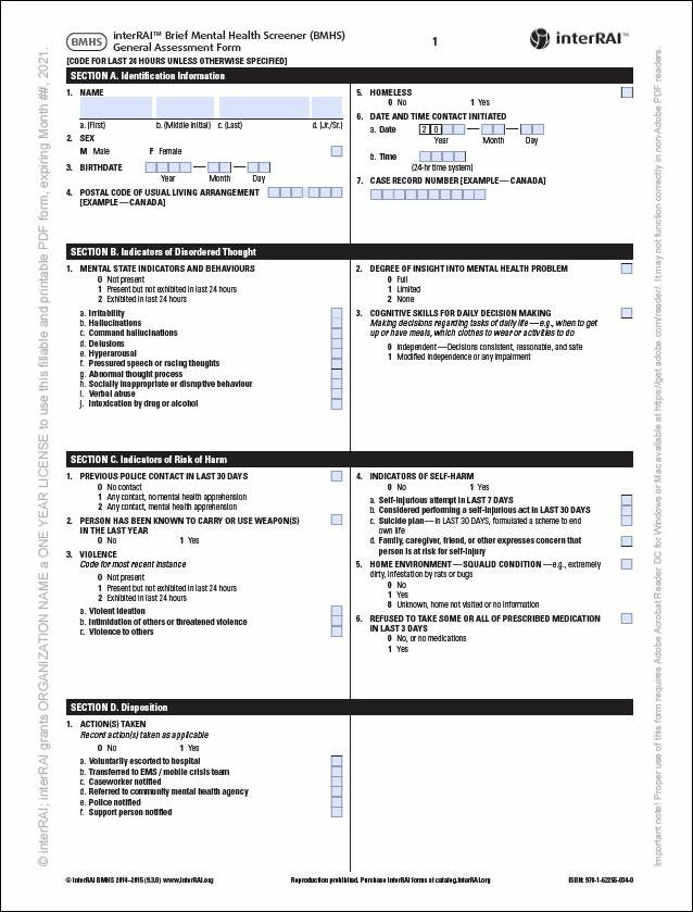 Interrai Brief Mental Health Screener Bmhs General Assessment Form Standard English Edition 9 3 0 License To Print Fillable Pdf Form Interrai Catalog