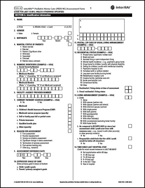 PedsHc Interrai Pediatric Home Care PedsHc Assessment Form